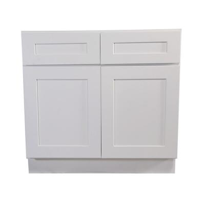 Brookings Plywood Assembled Shaker 42x34.5x24 in. 2-Door 2-Drawer Base Kitchen Cabinet in White