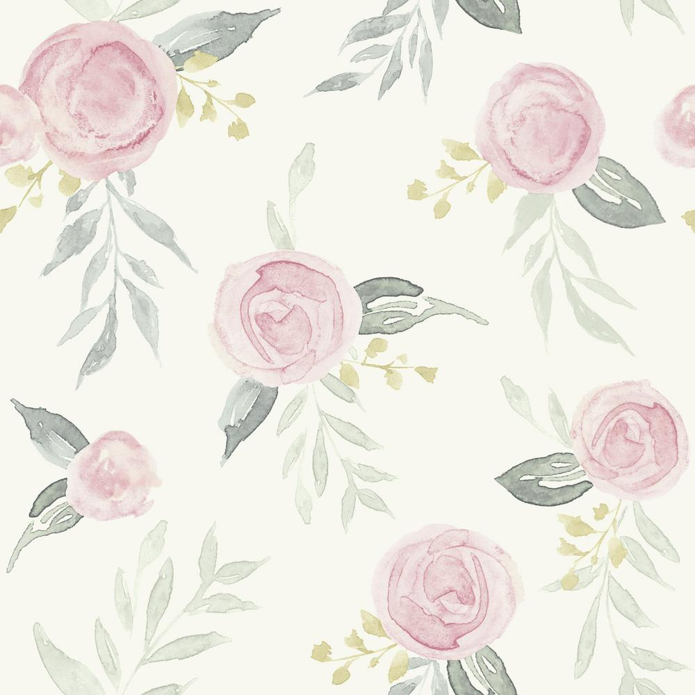 Watercolor Roses Pink Paper Peelable Roll (Covers 34 sq. ft.)