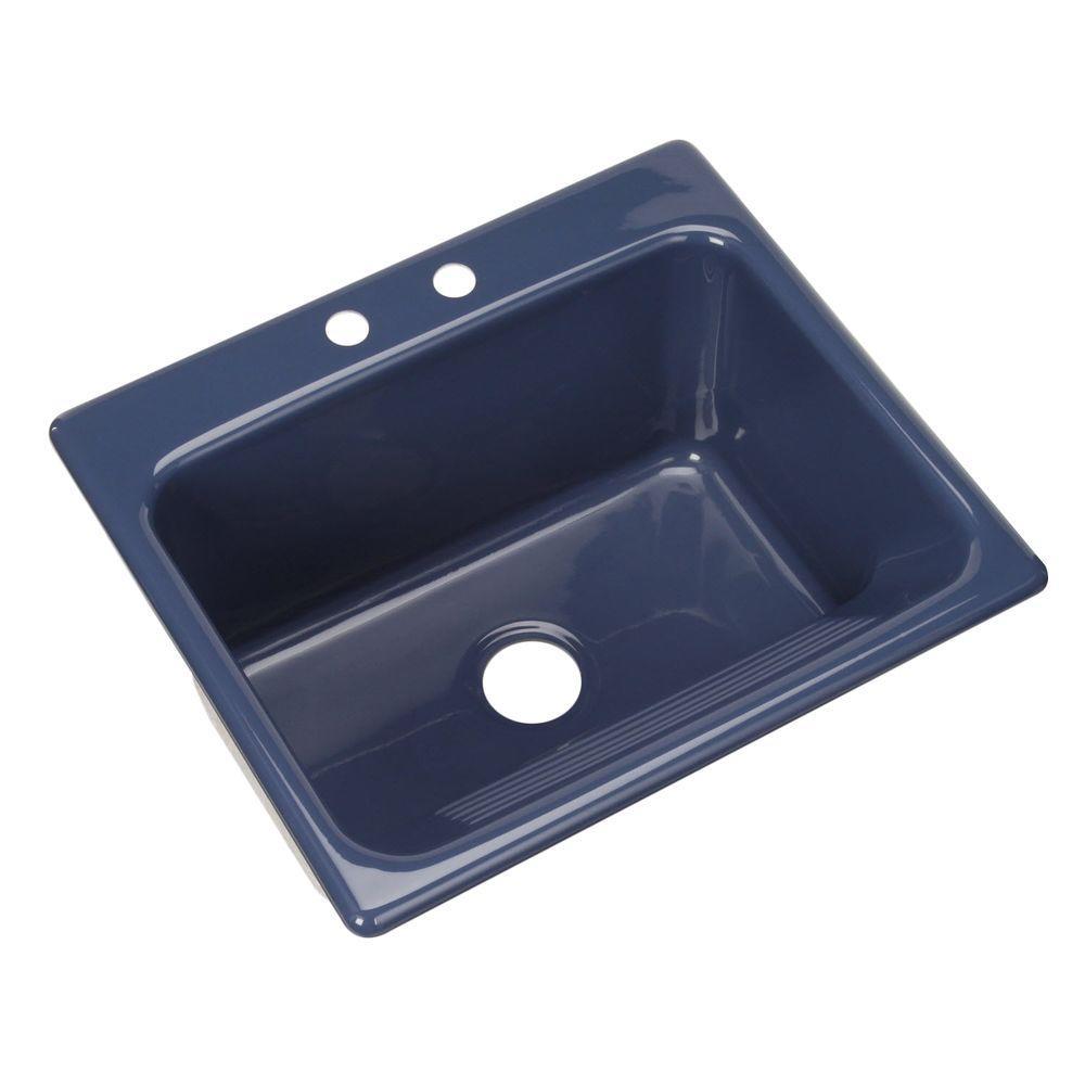 Thermocast Kensington Drop-In Acrylic 25 in. 2-Hole Single Bowl Utility Sink in Rhapsody Blue