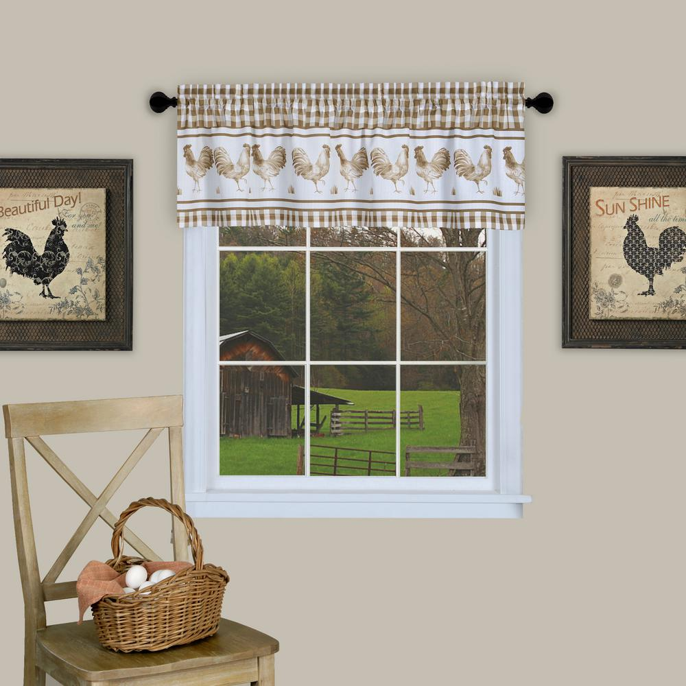Achim Barnyard 14 in. L Polyester Valance in Taupe