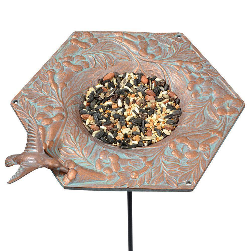 Copper Verdigris Hummingbird Garden Bird Feeder