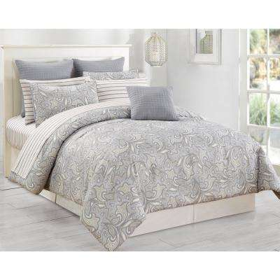 Mathylda 10-Piece Taupe Queen Comforter Set