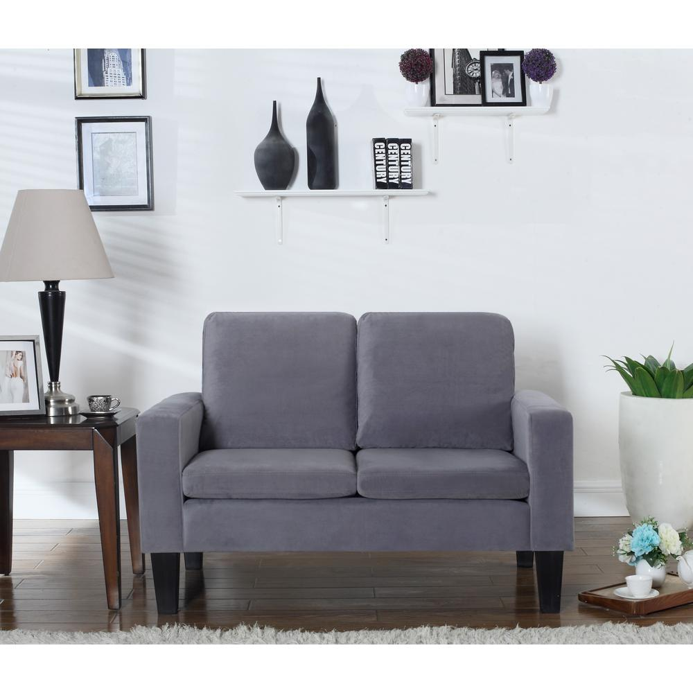 Sarah Collection Gray Microfiber Loveseat-72013-62GY - The Home Depot