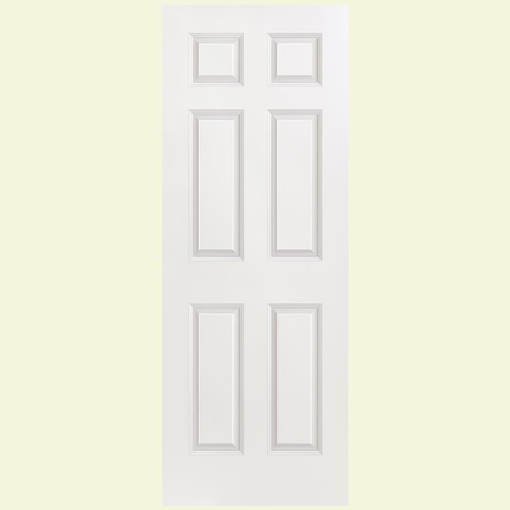 Masonite 30 in x 80 in 6 panel flat jamb hollow core textured 6 panel flat jamb hollow core textured primed composite single prehung interior door 75098 the home depot planetlyrics Choice Image