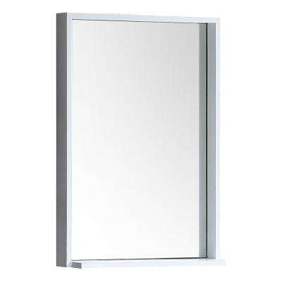 Allier 22 in. W x 31.50 in. H Framed Wall Mirror with Shelf in White