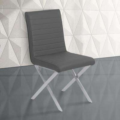 Tempe 36 in. Gray Faux Leather and Brushed Stainless Steel Finish Dining Chair (Set of 2)