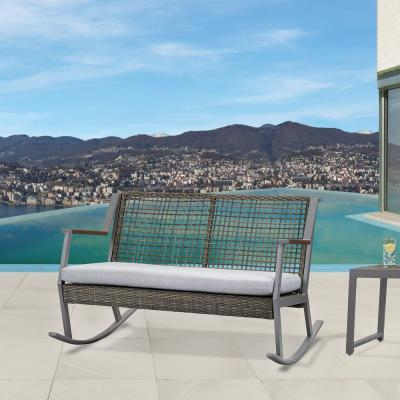 Calvin Gray Powder Coated Aluminum Outdoor 2-Seat Rocking Chair with Gray Cushions