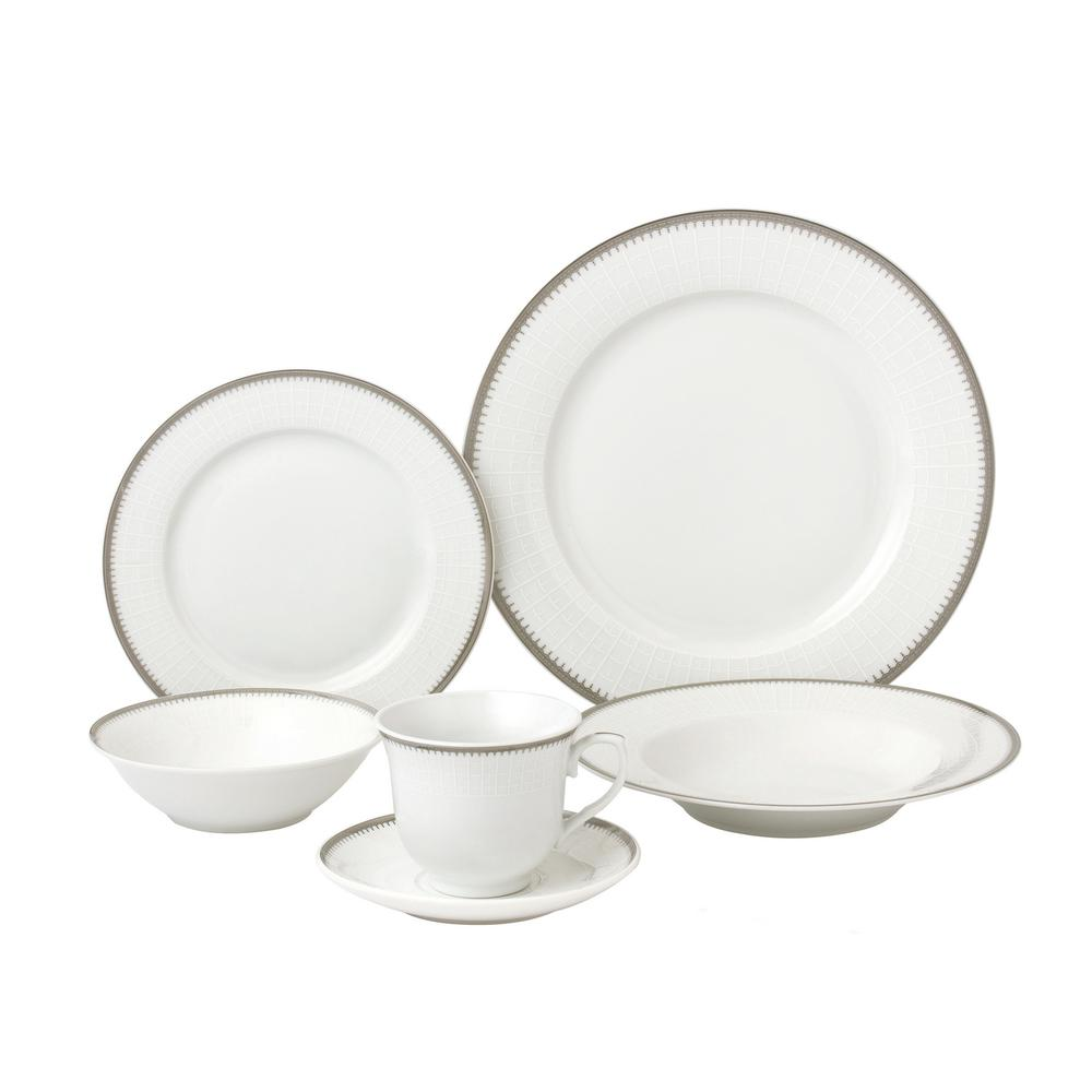 Lorren Home Trends 24-Piece Silver Band Porcelain Dinnerware Service for 4-Alyssa  sc 1 st  Home Depot & Lorren Home Trends 24-Piece Silver Band Porcelain Dinnerware Service ...