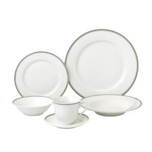 5f4ea03c349eb 24-Piece Silver Band Porcelain Dinnerware Service for 4-Alyssa · Lorren  Home Trends ...