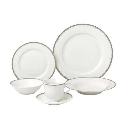 24-Piece Silver Band Porcelain Dinnerware Service for 4-Alyssa