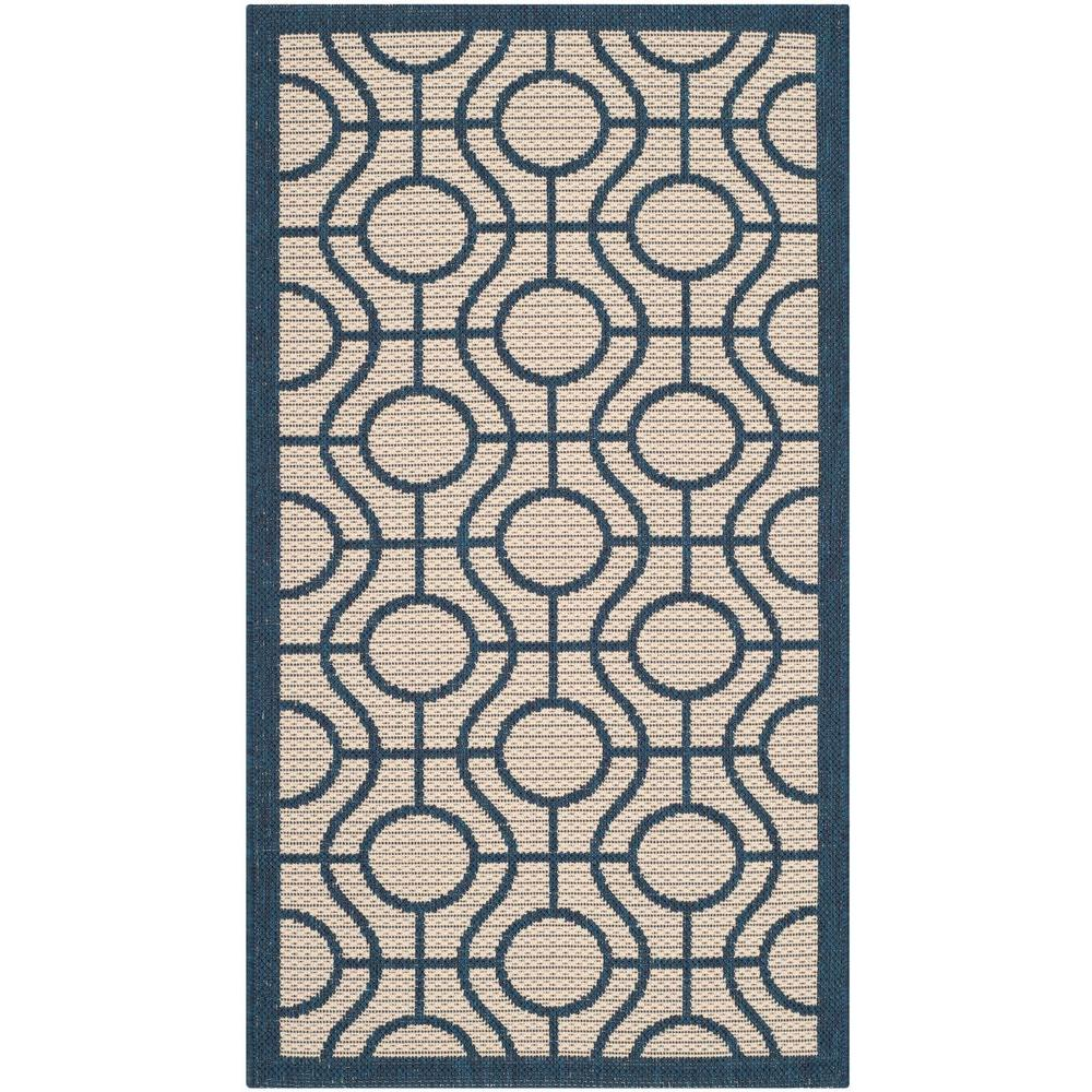 Courtyard Beige/Navy 2 ft. 7 in. x 5 ft. Indoor/Outdoor Area