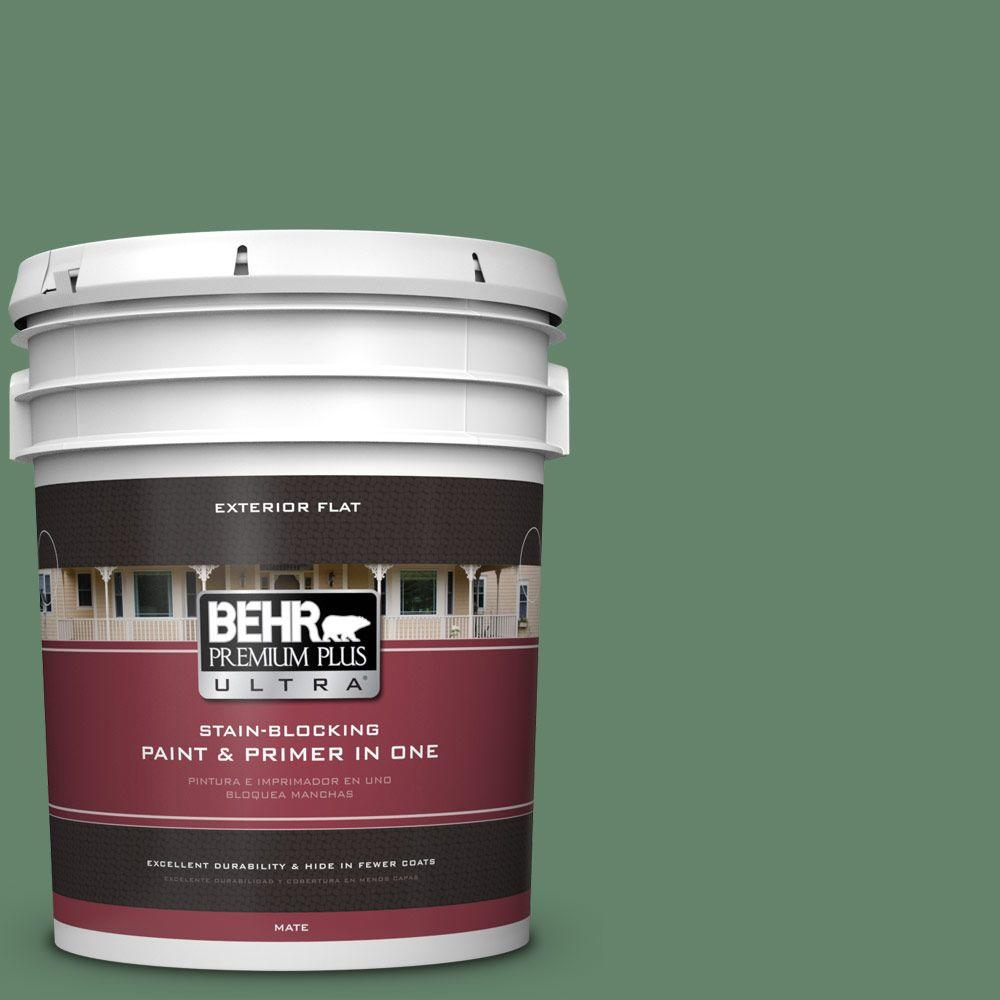 BEHR Premium Plus Ultra 5-gal. #BIC-55 Garden Greenery Flat Exterior Paint