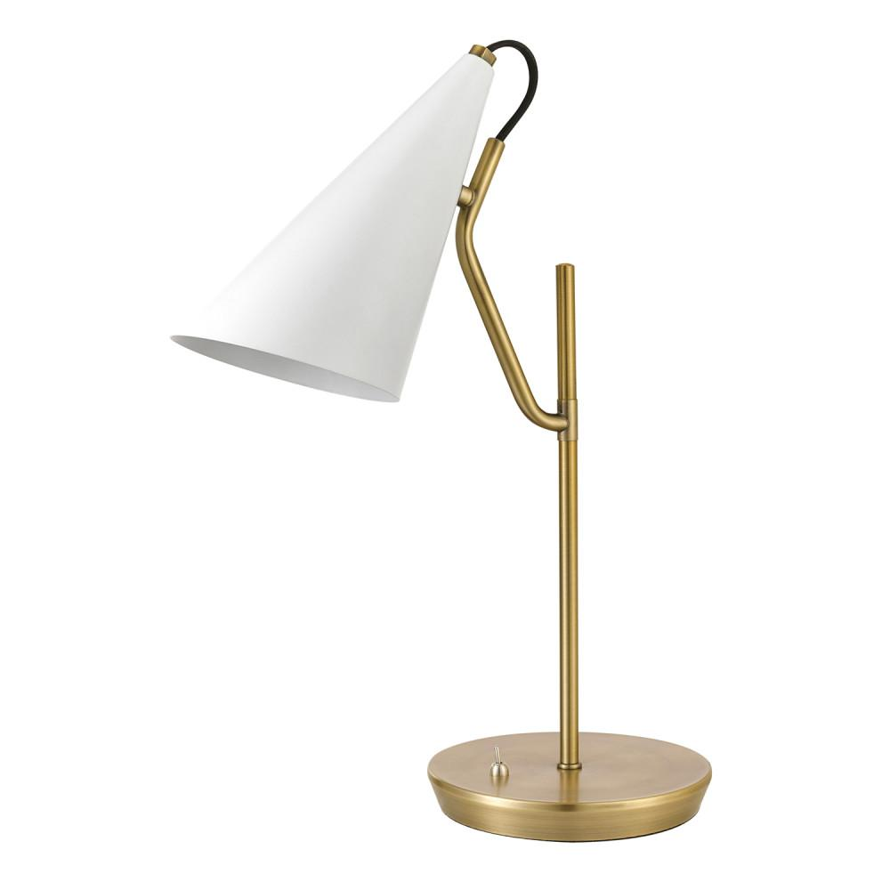 Matte Brass Desk Lamp With Matte White Shade