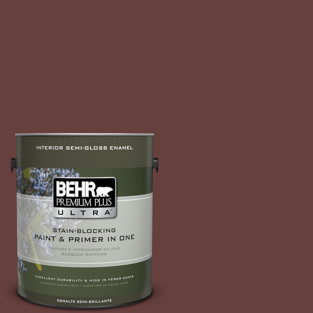 BEHR Premium Plus Ultra 1 gal. #S-G-730 Tawny Port Semi-Gloss Enamel Interior Paint and Primer in One