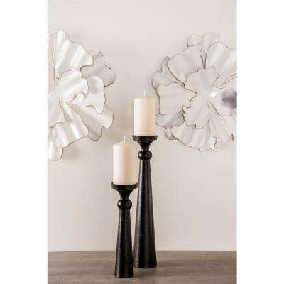 Black Cone-Shaped Iron Candle Holders (Set of 3)