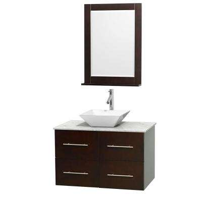 Centra 36 in. Vanity in Espresso with Marble Vanity Top in Carrara White, Porcelain Sink and 24 in. Mirror