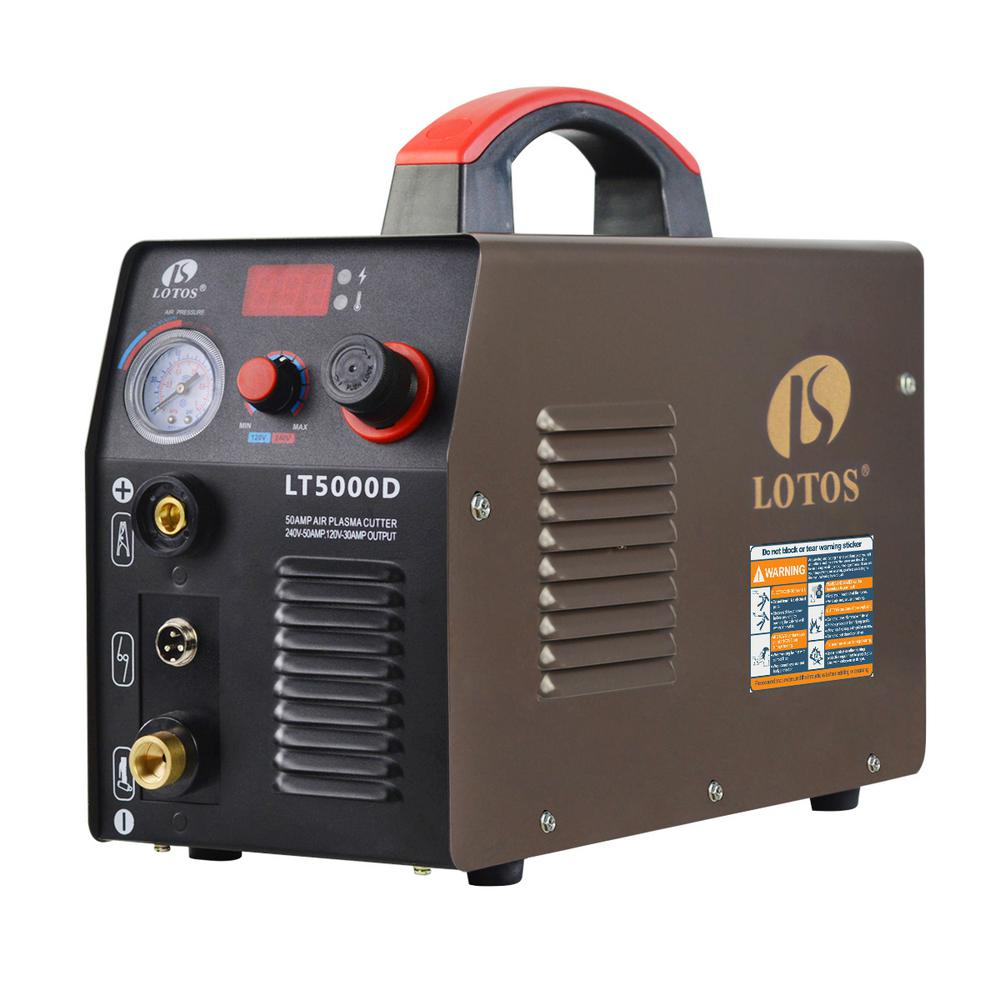 Lotos 50 Amp Compact Inverter Plasma Cutter for Metal, Dual Voltage 110/220V, 1/2 in. Clean Cut