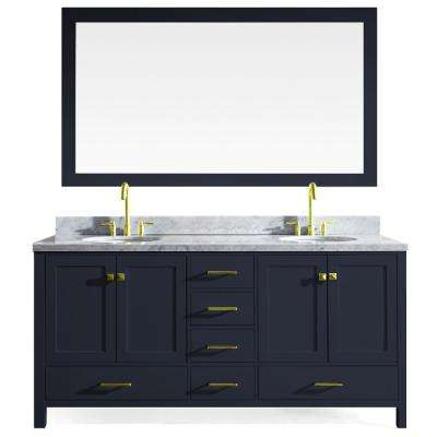 Cambridge 73 in. W x 22 in. D Vanity in Midnight Blue with Marble Vanity Top in Carrara White with Basin and Mirror