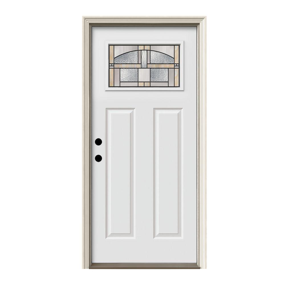 Home Depot Prehung Exterior Door: JELD-WEN 36 In. X 80 In. 1 Lite Craftsman Portage Primed