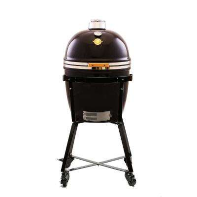 18 in. Large Genesis Kamado Charcoal Grill with Stack-N-Rack System, Cart and Stainless Side-Shelves