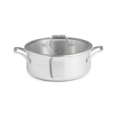 Signature 5 qt. Round Stainless Steel Dutch Oven in Brushed Stainless Steel with Glass Lid