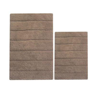 Rectangular Mocha Brown 32 in. x 20 in. Cotton Bath Rug (Set of 2)