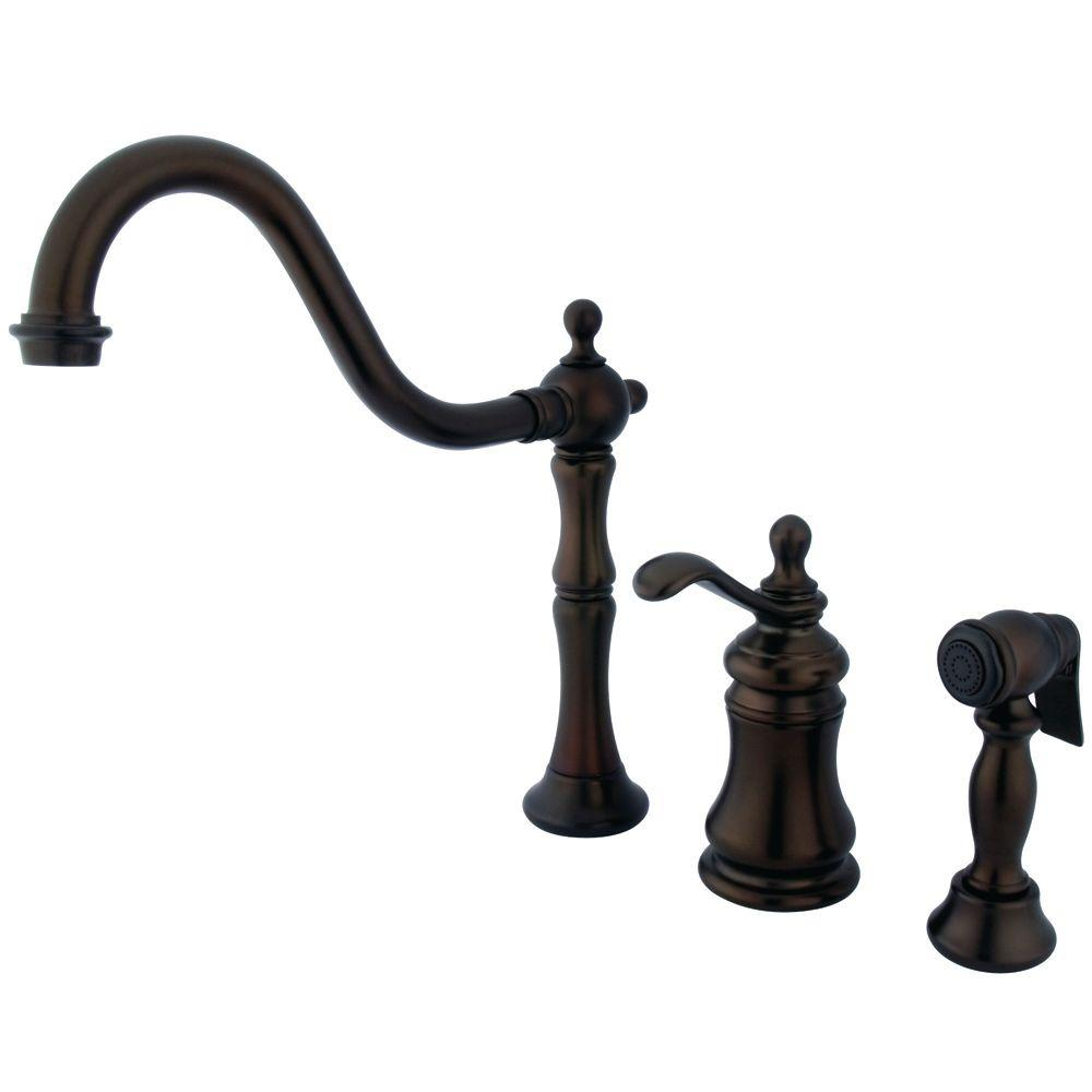 Kingston Brass Single Handle Standard Kitchen Faucet With Side Sprayer In  Oil Rubbed Bronze