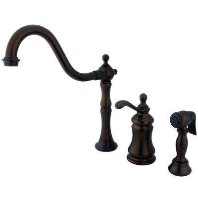 Single-Handle Standard Kitchen Faucet with Side Sprayer in Oil Rubbed Bronze