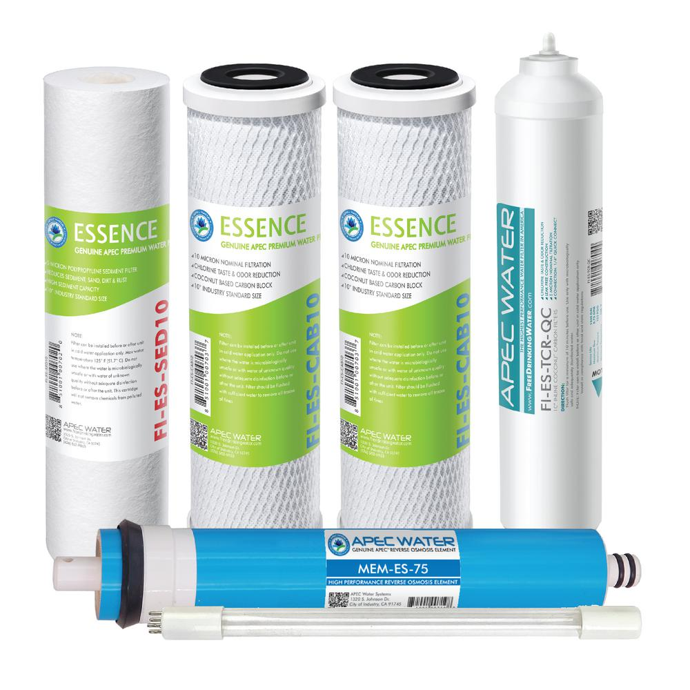 Apec Water Systems Essence Under Sink System Roes Uv75 Ss Replacement Water Filter Cartridge Complete Filter Set Stage 1 6 Filter Max Esuv Ssv2 The Home Depot