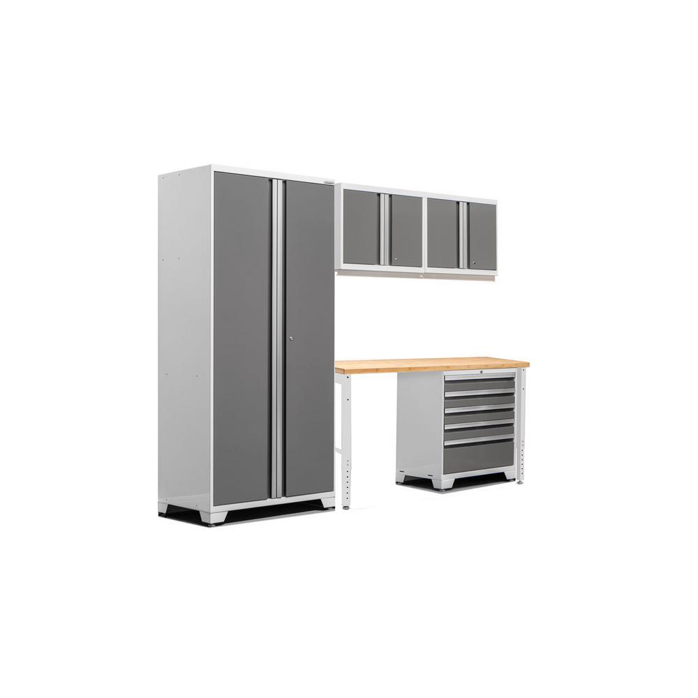 Pro 3.0 83.25 in. H x 102 in. W x 24 in. D 18-Gauge Welded Steel Bamboo Worktop Cabinet Set in Platinum (5-Piece)