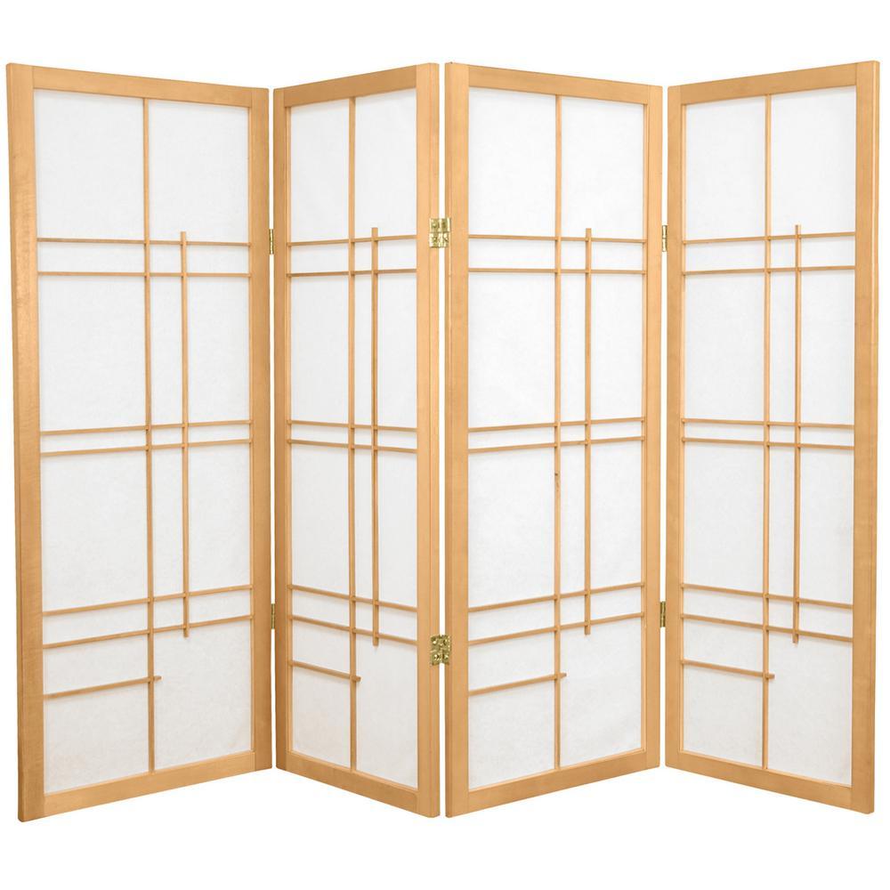 Oriental Furniture 4 Ft Natural 4 Panel Room Divider Cleudes Nat