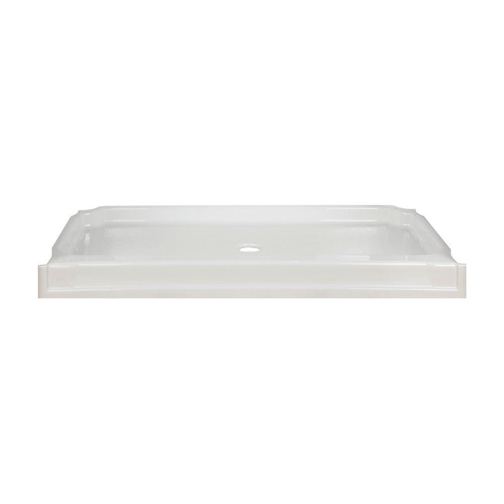 Aqua Glass Eleganza 60 in. x 34 in. Polycomposite Single Threshold Alcove Shower Base in White