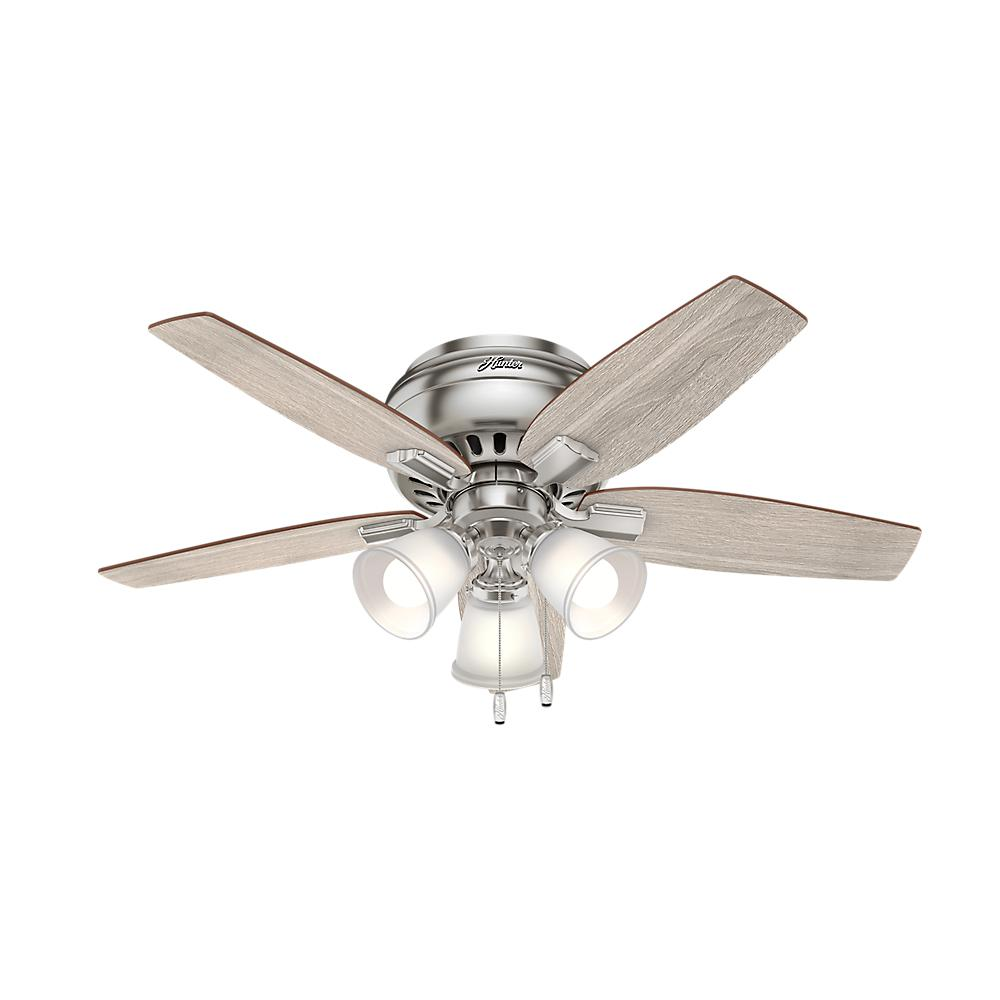 Hunter echo bluff 42 in led indoor brushed nickel flush mount hunter echo bluff 42 in led indoor brushed nickel flush mount ceiling fan mozeypictures