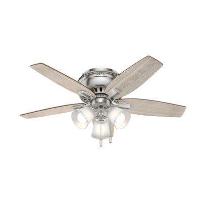 Hunter ceiling fans lighting the home depot led indoor brushed nickel flush mount ceiling fan aloadofball Image collections