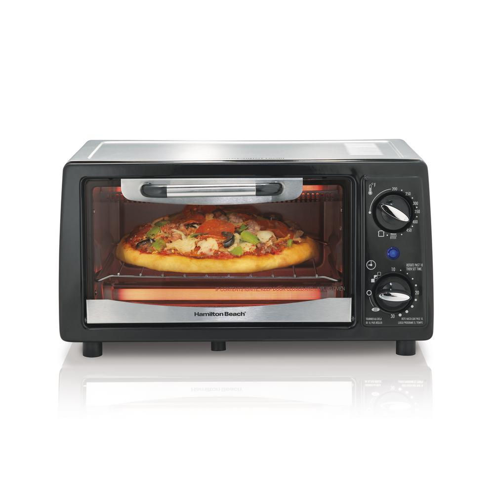 Hamilton Beach 1050 W 4-Slice Black Stainless Toaster Oven with Built-In Timer