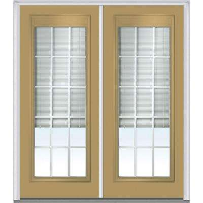 72 in. x 80 in. Internal Blinds and Grilles Left-Hand Full Lite Classic Painted Steel Prehung Front Door