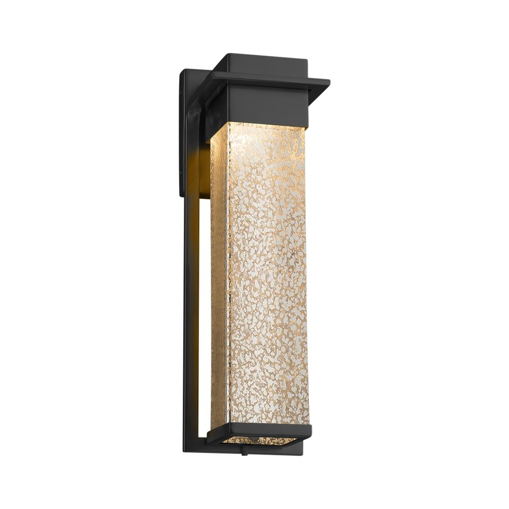 Justice Design Fusion Pacific Large Matte Black LED Outdoor Wall Sconce with Mercury Glass Shade