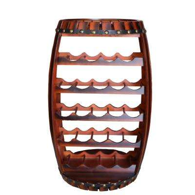 Large Wooden Barrel Shaped 23-Bottle Brown Cherry Wine Rack