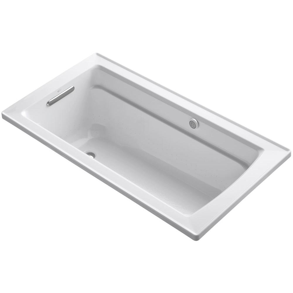 KOHLER Archer 5 ft. Acrylic Rectangular Drop-in Whirlpool Bathtub in ...