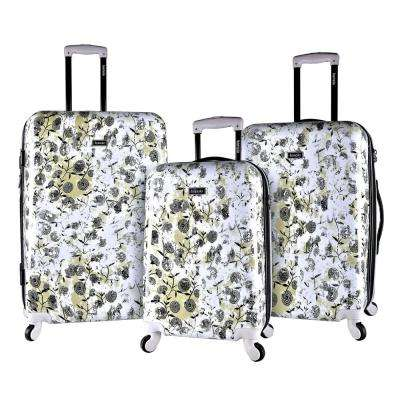 3-Piece Floral Hard Side Expandable Rolling Vertical Luggage Set with Spinners