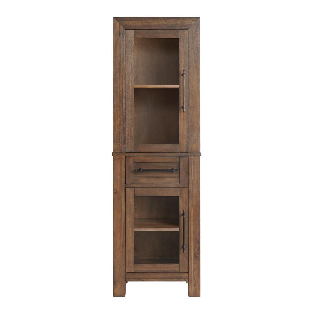Thomden 20 in. W x 14 in. D x 65 in. H Double Doors Linen Cabinet in Walnut