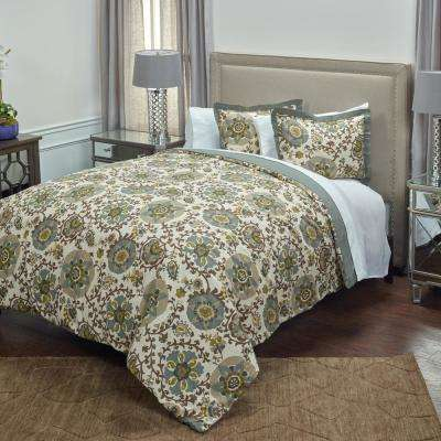 Grey Solid Pattern Queen Bed Skirt