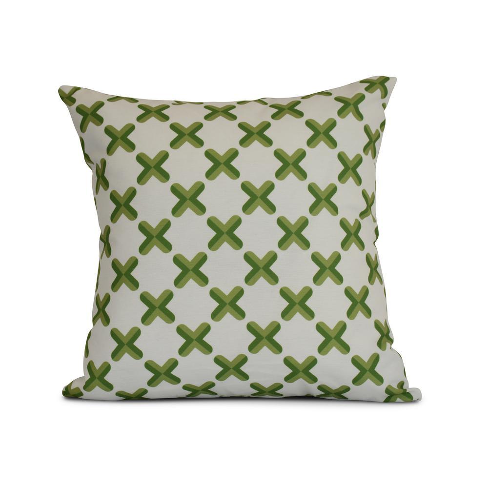 16 in. Green Criss Cross Upscale Getaway Geometric Print Pillow PG819GR17-16