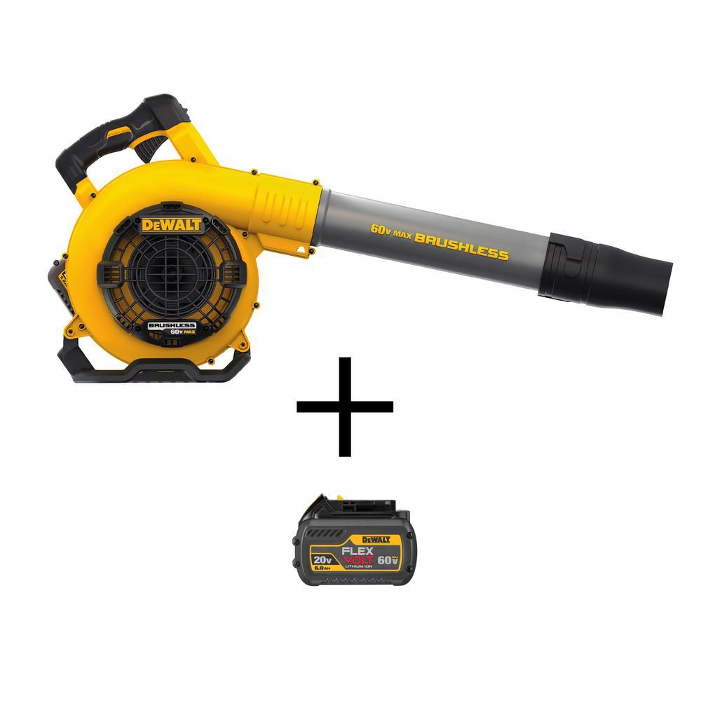 60-Volt MAX Lithium Ion Cordless FLEXVOLT 129 MPH 423 CFM Handheld Leaf Blower w/ Charger and (2) 3Ah Batteries