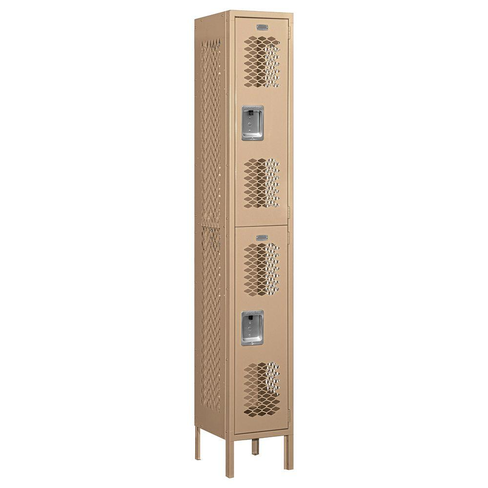 Salsbury Industries 72000 Series 12 in. W x 78 in. H x 12 in. D Double Tier Vented Metal Locker Unassembled in Tan