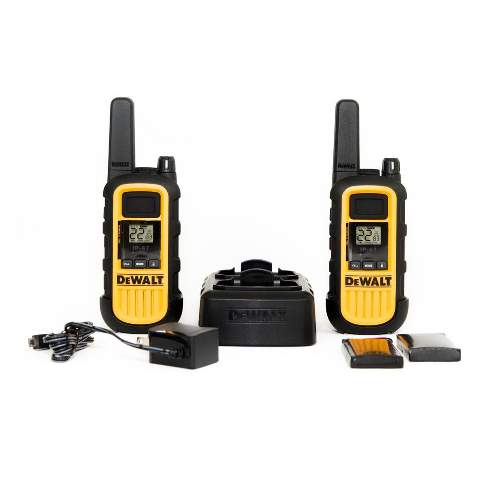 FRS 2-Way 1-Watt Radio Set (2-Pack) DEWALT DXFRS300 walkie-talkies (set of 2) are built on the FRS platform. Heavy duty 1-Watt radios are ideal for construction jobsites, and on-site business applications such as hotel front desk, retail, restaurtants and grocery. FRS Business Series radios are smart, simple, reliable, high-performance and tough! Covered by a limited lifetime warranty.