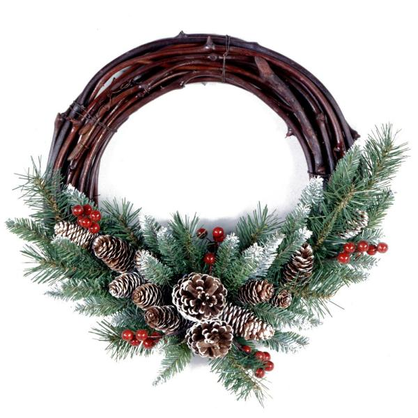 Frosted Berry Grapevine 16 in. Artificial Wreath