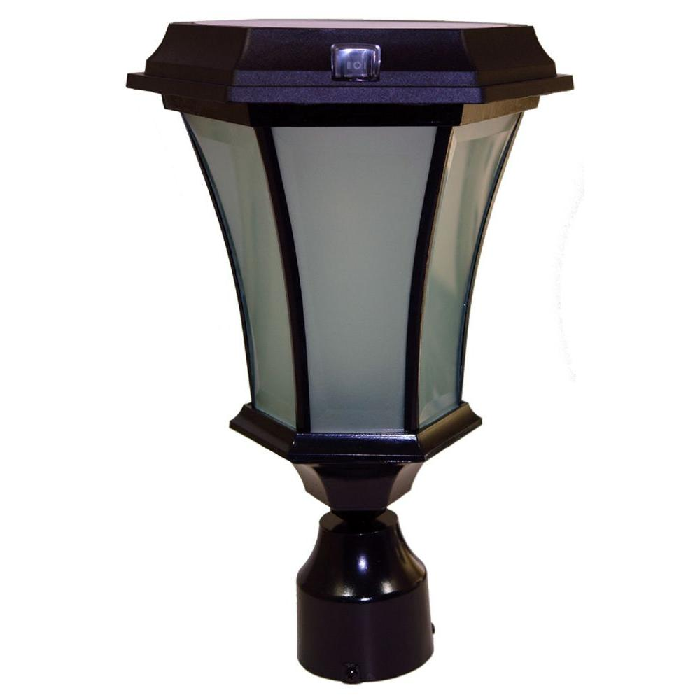 Solar Black Outdoor LED Warm White Coach Light with Conca...