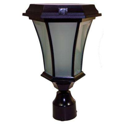 Solar Black Outdoor LED Warm White Coach Light with Concave Glass Panels and 3 in. Fitter Pole Mount