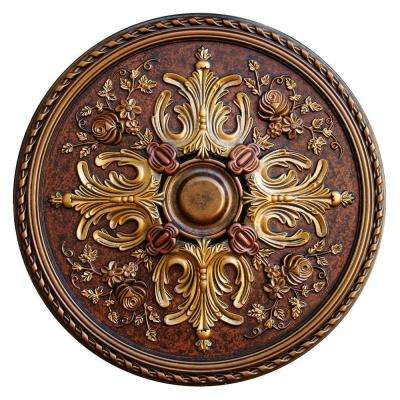 32-3/4 in. Floral Desire, Bronze, Gold, Copper Polyurethane Hand Painted Ceiling Medallion